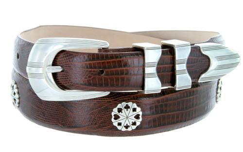 Poker Club Golf Belt Italian Calfskin Genuine Leather Designer Dress Conchos Belt