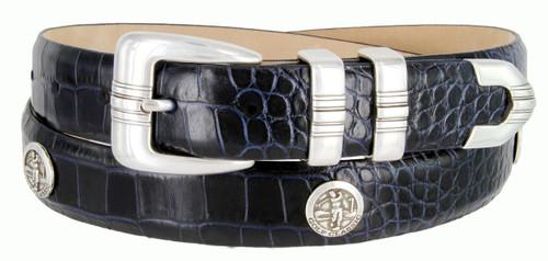 "North Carolina Italian Calfskin Genuine Leather Designer Dress Golf Conchos Belt 1-1/8""(30mm) Wide"