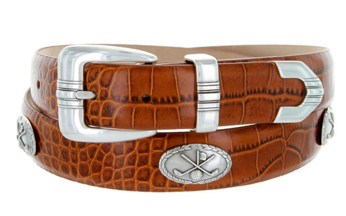 "Golf Club Italian Calfskin Genuine Leather Designer Dress Golf Conchos Belt 1-1/8""(30mm) Wide"