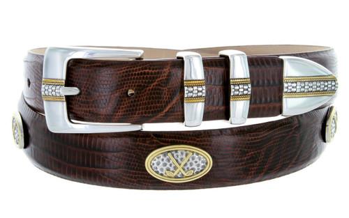 "Towne Italian Calfskin Genuine Leather Designer Dress Golf Conchos Belt 1-1/8""(30mm) Wide"