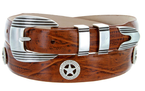 Silver Golf Star Italian Calfskin Genuine Leather Designer Dress Golf Conchos Belt