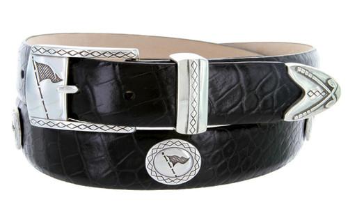 "Tournament Italian Calfskin Genuine Leather Designer Dress Golf Belt 1-1/8""(30mm) Wide"