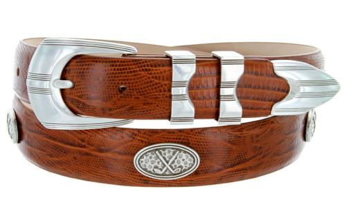 "SilverWood Italian Calfskin Genuine Leather Designer Dress Golf Belt 1-1/8""(30mm) Wide"