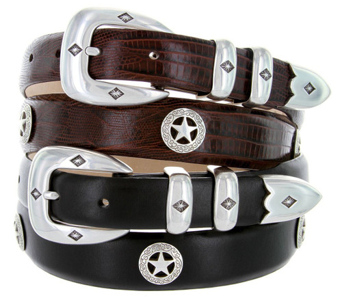Presidential Silver Star Italian Calfskin Genuine Leather Designer Dress Golf Conchos Belt