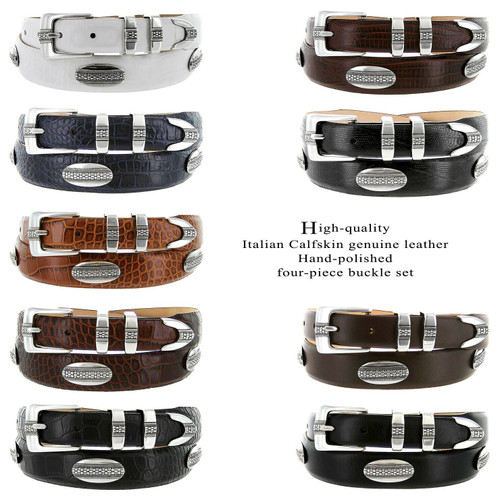 Silver St. Andrews Italian Calfskin Genuine Leather Designer Dress Golf Conchos Belt
