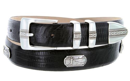 "Golf of Scottsdale Italian Calfskin Genuine Leather Designer Dress Golf Conchos Belt 1-1/8""(30mm) Wide"