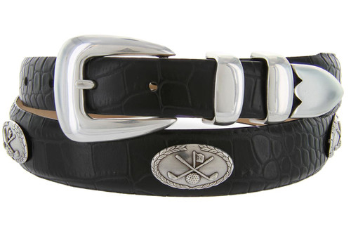 Golf Belt of Palisades Italian Calfskin Genuine Leather Designer Dress Golf Conchos Belt