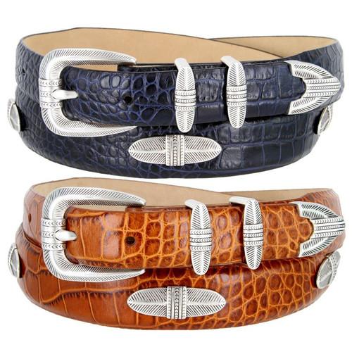 Rattan Silver Italian Calfskin Genuine Leather Designer Dress Conchos Belt