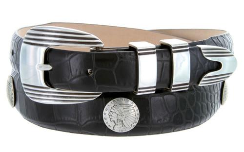 Indian Head Coin Conchos Italian Calfskin Genuine Leather Designer Dress Conchos Belt