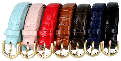 "7035 Women's Belt Alligator Embossed Leather Casual Dress Skinny Belt 1""(25mm) Wide"