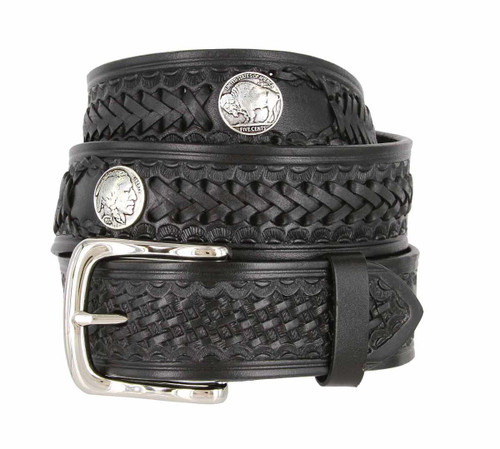"""Western Scorpion X Hand Woven Genuine Full Grain Leather Belt with Indian and Buffalo Conchos 1-1/2""""(38mm) Wide"""