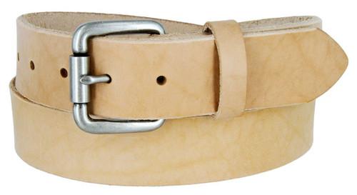 "Antique Roller Buckle Genuine Full Grain Leather Casual Jean Belt 1-1/2""(38mm) Wide Made in U.S.A"