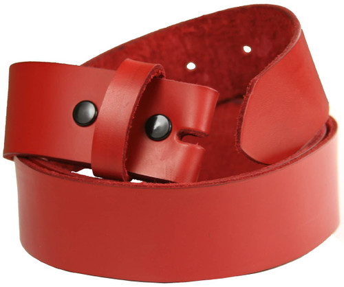Red Belt Strap Made in USA Belt 100% Genuine Full Grain Leather Belt With Snaps