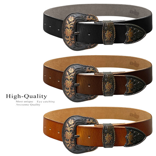 """Western Antique Copper Floral Engraved Buckle Genuine Full Grain Leather Casual Jean Belt 1-1/2""""(38mm) Wide"""