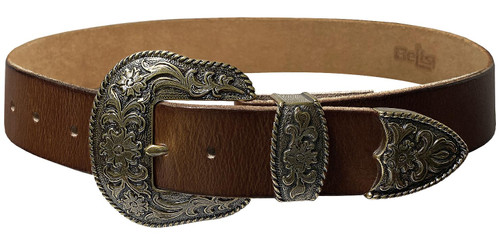 """Western Antique Brass Floral Engraved Buckle Genuine Full Grain Leather Casual Jean Belt 1-1/2""""(38mm) Wide"""