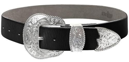"Western Brgith Silver Floral Engraved Buckle Genuine Full Grain Leather Casual Jean Belt 1-1/2""(38mm) Wide"