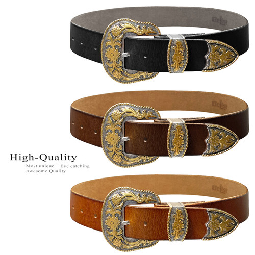 """Western Antique Gold Floral Engraved Buckle Genuine Full Grain Leather Casual Jean Belt 1-1/2""""(38mm) Wide"""