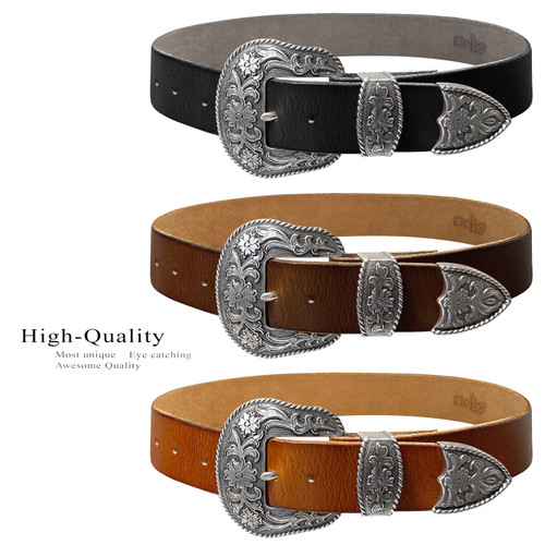 """Western Antique Silver Floral Engraved Buckle Genuine Full Grain Leather Casual Jean Belt 1-1/2""""(38mm) Wide"""