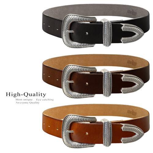 "Randy Western Antique Engraved Buckle Genuine Full Grain Leather Casual Jean Belt 1-1/2""(38mm) Wide"