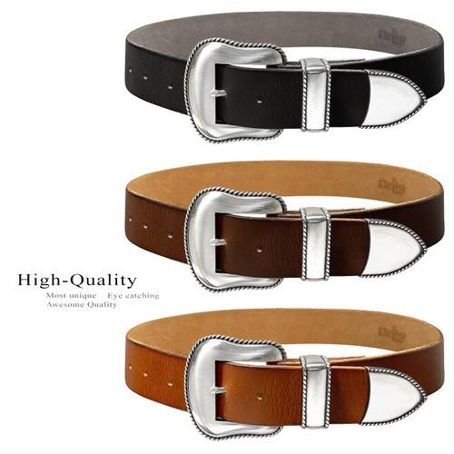 """Mountain Ridge Western Antique Buckle Genuine Full Grain Leather Casual Jean Belt 1-1/2""""(38mm) Wide"""