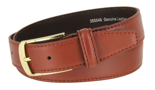 """355549 Classic Gold Buckle Genuine Leather Smooth Dress Belt 1-3/8""""(35mm) Wide"""