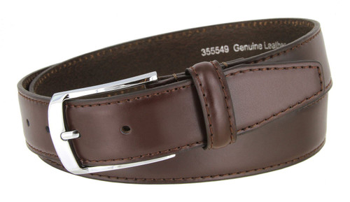 """355549 Classic Silver Buckle Genuine Leather Smooth Dress Belt 1-3/8""""(35mm) Wide"""