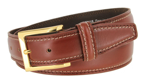 """358118 Classic Gold Buckle Genuine Leather Smooth Dress Belt 1-3/8""""(35mm) Wide"""