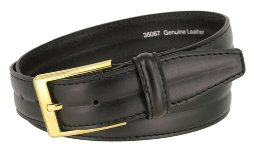 """35067 Classic Gold Buckle Genuine Leather Smooth Dress Belt 1-3/8""""(35mm) Wide"""