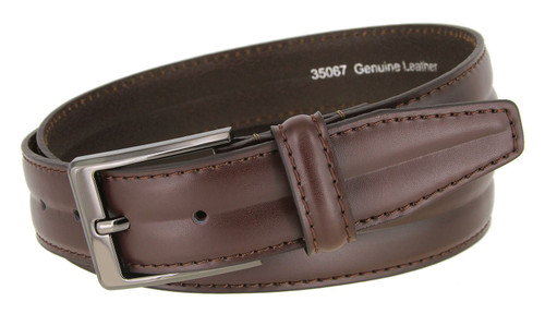"""35067 Classic Black Buckle Genuine Leather Smooth Dress Belt 1-3/8""""(35mm) Wide"""