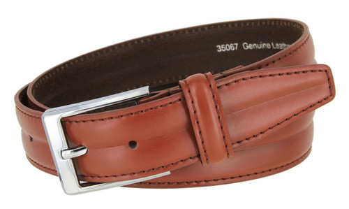 """35067 Classic Silver Buckle Genuine Leather Smooth Dress Belt 1-3/8""""(35mm) Wide"""