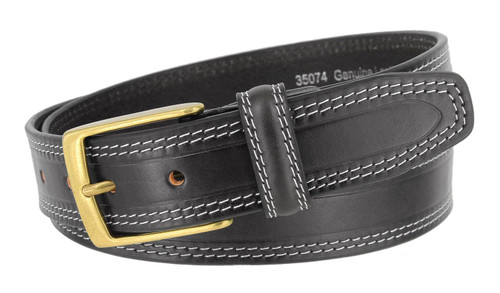 """AE354 Classic Gold Buckle Genuine Leather Smooth Dress Belt 1-3/8""""(35mm) Wide"""