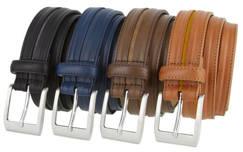 "357337 Men's Classic Buckle Genuine Leather Dress Casual Belt 1-3/8""(35mm) Wide"