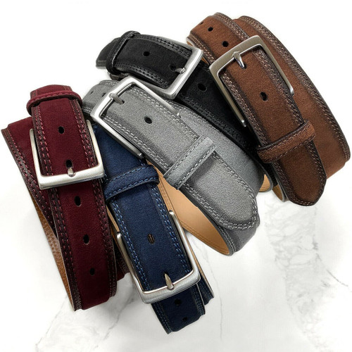 "Solid Brass Buckle Suede Belt Genuine Leather Casual Dress Belt 1-3/8""(35mm) Wide"