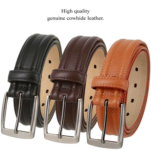 """3515123 Classic Buckle Genuine Leather Smooth Casual Dress Belt 1-3/8""""(35mm) Wide"""