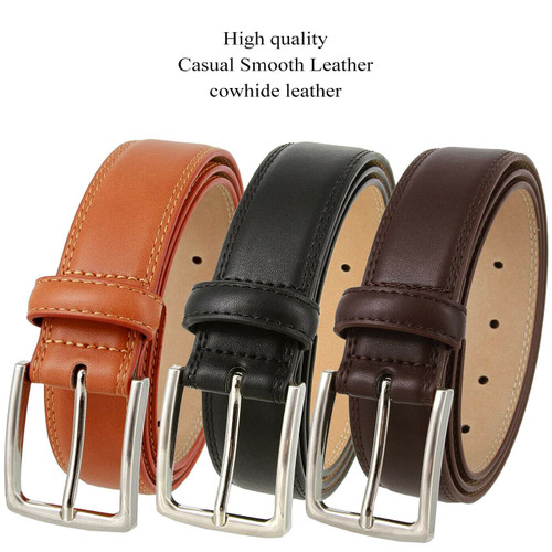 """3515125 Classic Buckle Genuine Leather Smooth Casual Dress Belt 1-3/8""""(35mm) Wide"""