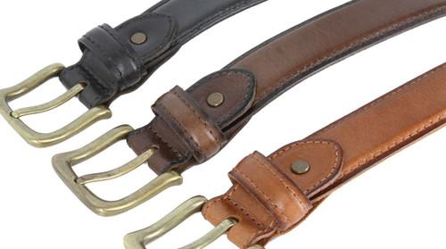 "131010 Antique Gold Buckle Vintage Genuine Leather Casual Dress Belt 1-3/8""(35mm) Wide"