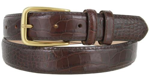 "Andrew Men's Dress Wine Color Belt Solid Brass Buckle Italian Calfskin Genuine Leather Dress Belt 1-1/8""(30mm) Wide"