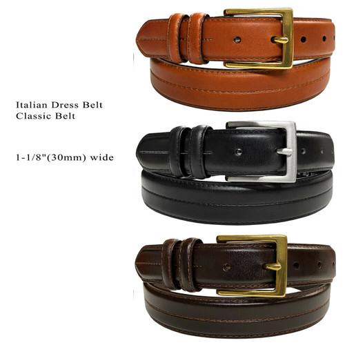"""HJ20 Men's Oil-Tanned Genuine Leather Italian Dress Belt 1-1/8""""(30mm) Wide"""