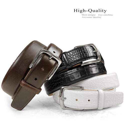 "Valley View Classic Buckle Casual Belt Italian Calfskin Genuine Leather Belt 1-1/2""(38mm) Wide"