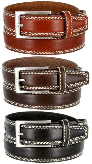 "8119-35 Made in Italy Belts Genuine Leather Casual Dress Belt 1-3/8""(35mm) Wide Belt"