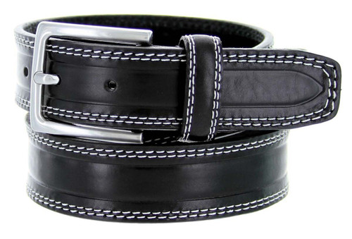 """S074-35 Made in Italy Belts Genuine Leather Casual Dress Belt 1-3/8""""(35mm) Wide Belt"""
