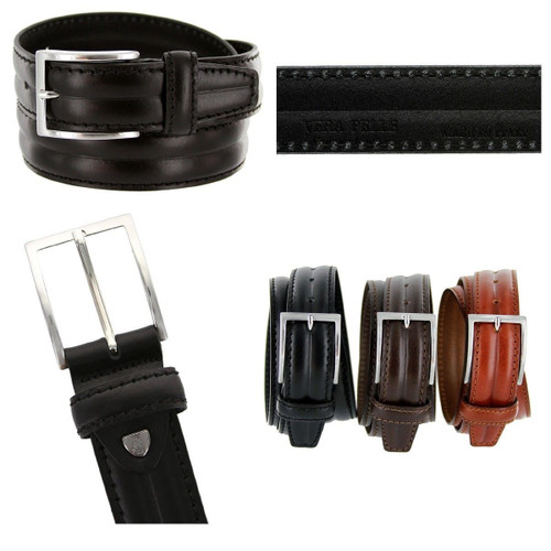 """S067-35 Made in Italy Belts Genuine Leather Casual Dress Belt 1-3/8""""(35mm) Wide Belt"""
