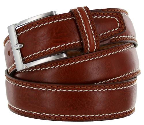 "8118-35 Made in Italy Belts Genuine Leather Casual Dress Belt 1-3/8""(35mm) Wide Belt"