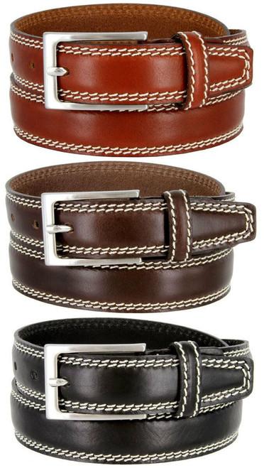 "8119-30 Made in Italy Belts Genuine Leather Casual Dress Belt 1-1/8""(30mm) Wide Belt"