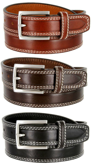 """S074-30 Made in Italy Belts Genuine Leather Casual Dress Belt 1-1/8""""(30mm) Wide Belt"""