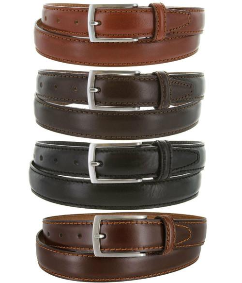 "5549-30 Made in Italy Belts Genuine Leather Casual Dress Belt 1-1/8""(30mm) Wide Belt"