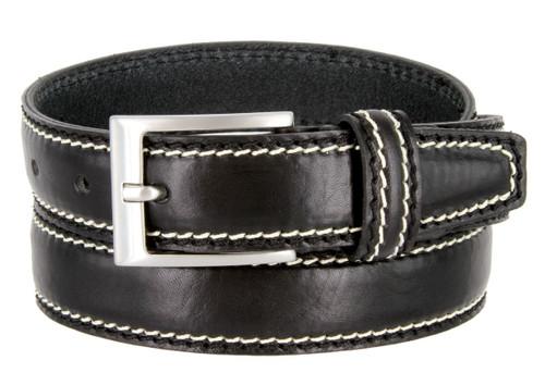 "8118-30 Made in Italy Belts Genuine Leather Casual Dress Belt 1-1/8""(30mm) Wide Belt"