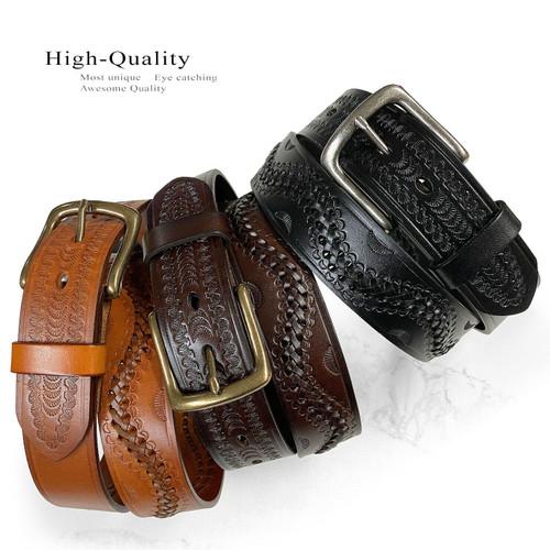 "2286 Western Hand-Woven Braided Genuine Full Grain Leather Belt 1-1/2""(38mm) Wide"