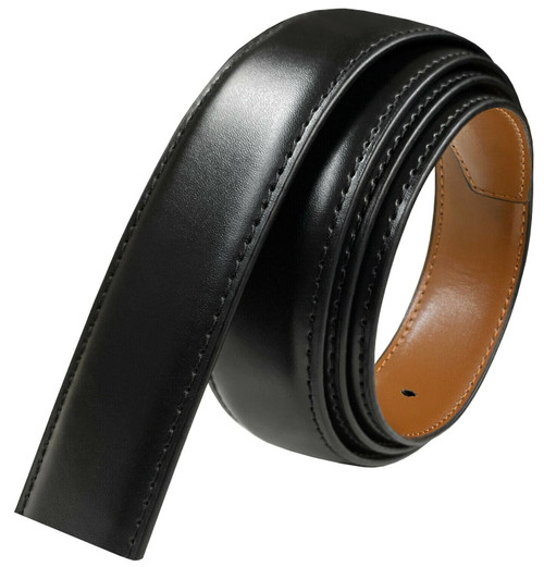"160501 Reversible Belt Strap Without Buckle Genuine Leather Dress Belt Strap 1-3/8""(35mm) wide (Black/Tan)"