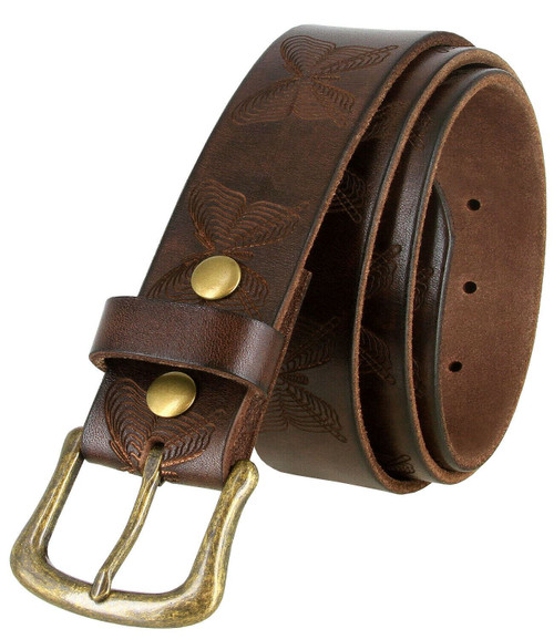 """CX152 Genuine Full Grain Leather Tooled Butterfly Embossed Casual Jean Belt 1-1/2""""(38mm) Wide"""